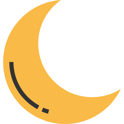 Crescent Moon, Half Moon, Night, Weather, Nature, Moon Phase Icon
