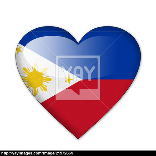 Philippines Flag In Heart Shape Isolated On White Background Image