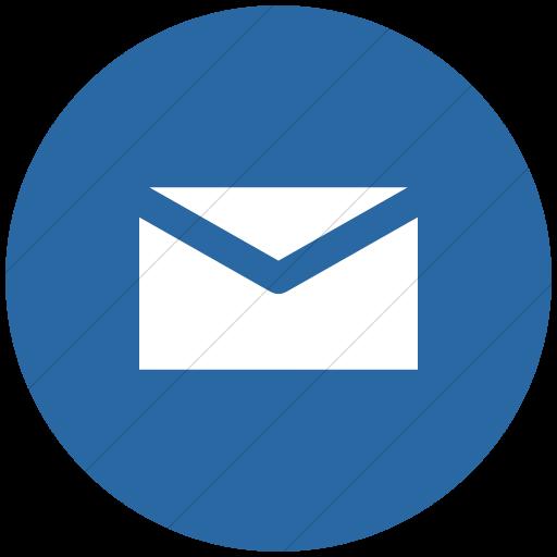 Flat Circle White On Blue Raphael Mail Icon