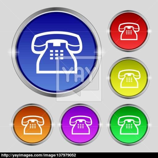 Retro Telephone Handset Icon Sign Round Symbol On Bright