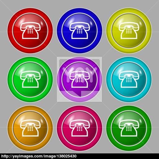 Retro Telephone Handset Icon Sign Symbol On Nine Round Colourful