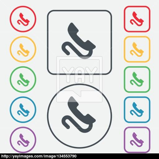 Retro Telephone Handset Icon Sign Symbol On The Round And Square