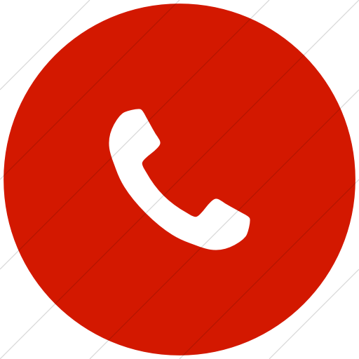 Flat Circle White On Red Bootstrap Font Awesome Phone Icon