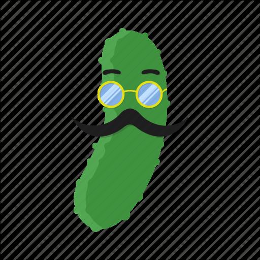 Cucumber, Cuke, Glasses, Green, Mustache, Pickle, Vegetables Icon