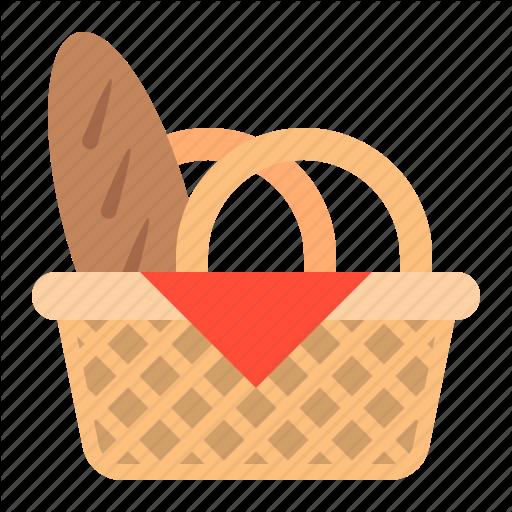 Basket, Bread, Food, Food Basket, Picnic Basket Icon