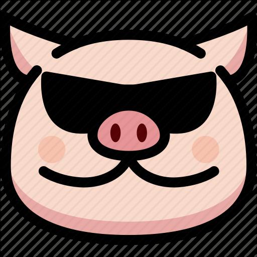 Cool, Emoji, Emotion, Expression, Face, Feeling, Pig Icon