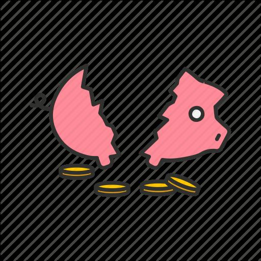 Bank, Broken Piggy Bank, Piggy Bank, Savings Icon