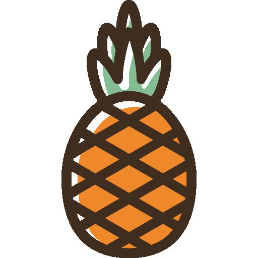 Pineapple Icon Linear Color Food Set Freepik