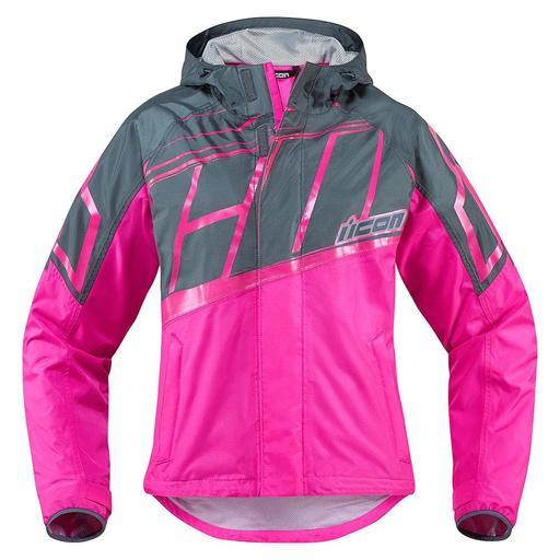 Icon Pdx Waterproof Women's Jacket In Pink Hfx Motorsports