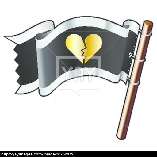 Broken Heart Pirate Flag Vector