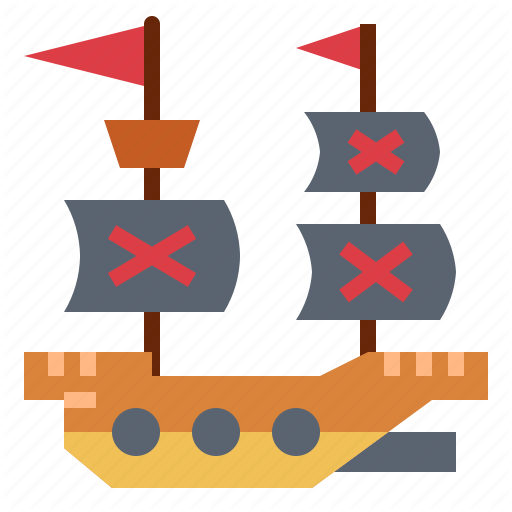 Captain, Pirate, Ship, Transport Icon