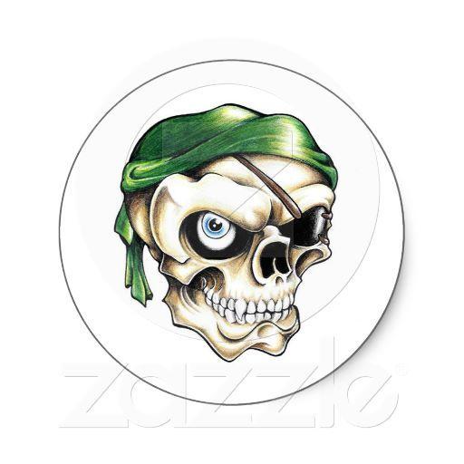 Cool Cartoon Tattoo Symbol Pirate Skull Bandana Classic Round