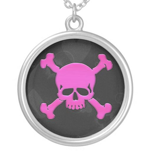 Girly Pink Skull And Crossbones Necklace Goth Jewelry Skulls