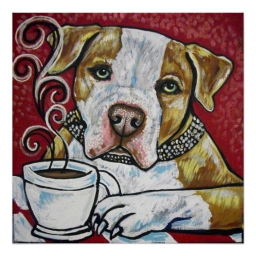 Shorty Rossi's Pitbull Hercules Drinking Coffee Poster Zazzle