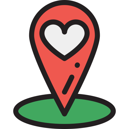 Location, Place Wedding, Love, Heart, Map Marker Icon Free