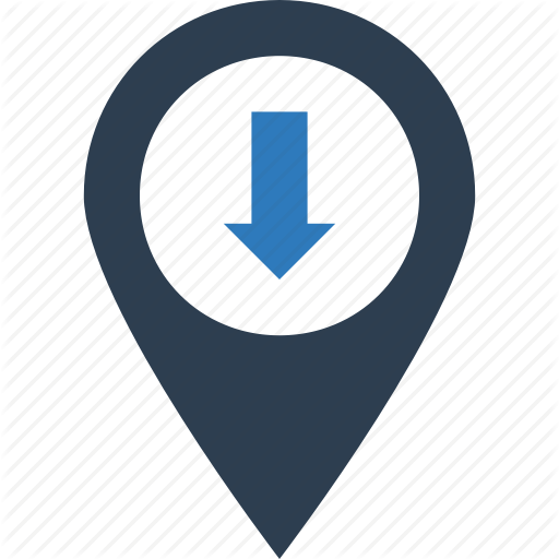 Down Map, Place, View Location, View Place Icon