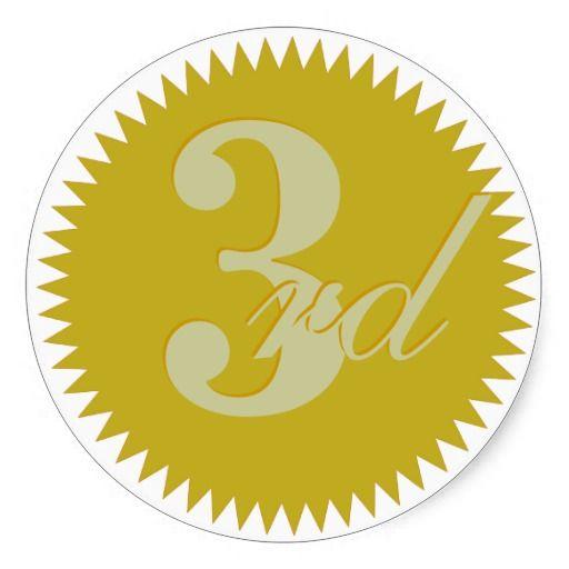 Third Prize Golden Seal Stickers Birthday Stickers