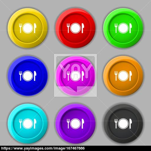 Plate Icon Sign Symbol On Nine Round Colourful Buttons Vector