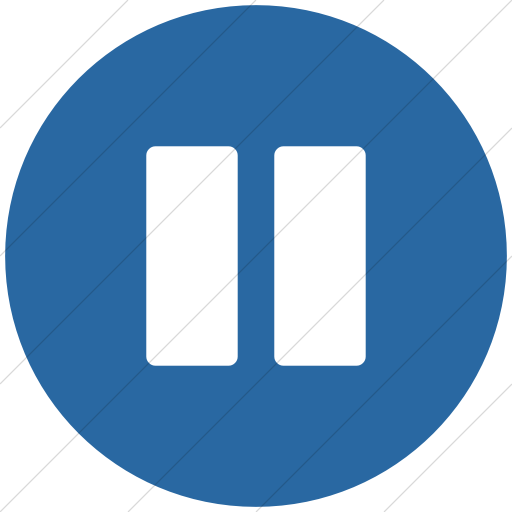 Flat Circle White On Blue Bootstrap Font Awesome Pause Icon