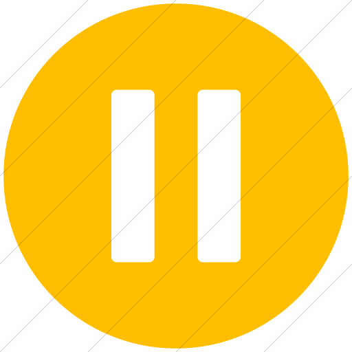 Flat Circle White On Yellow Broccolidry Pause Icon