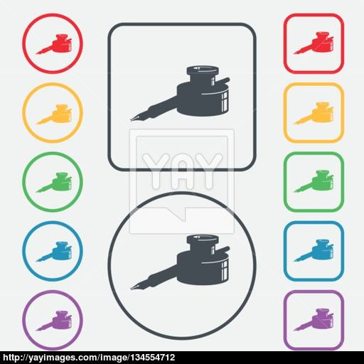 Pen And Ink Icon Sign Symbol On The Round And Square Buttons