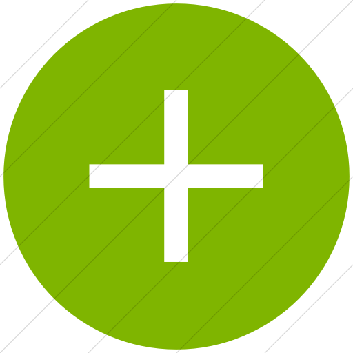 Flat Circle White On Green Classica Plus Sign Icon