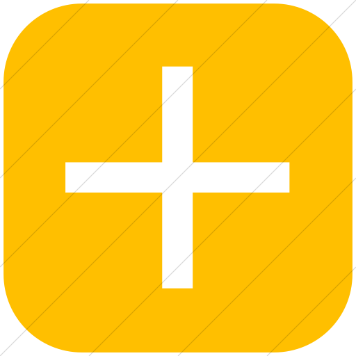 Flat Rounded Square White On Yellow Classica Plus Sign Icon