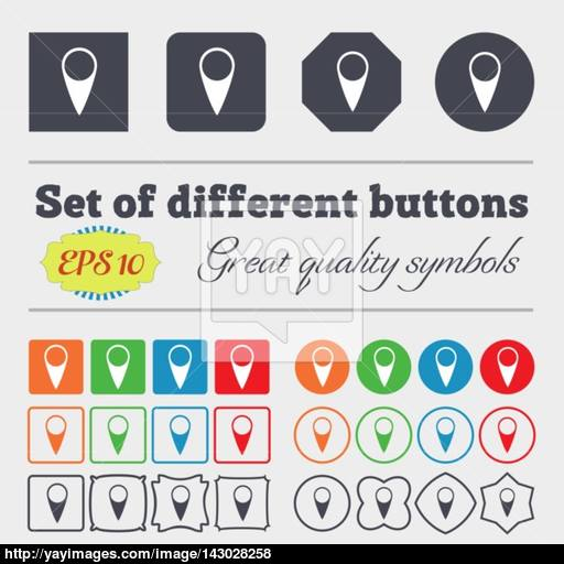 Map Pointer Icon Gps Location Symbol Big Set Of Colorful