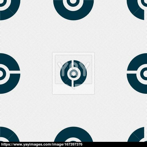 Pokeball Icon Sign Seamless Pattern With Geometric Texture