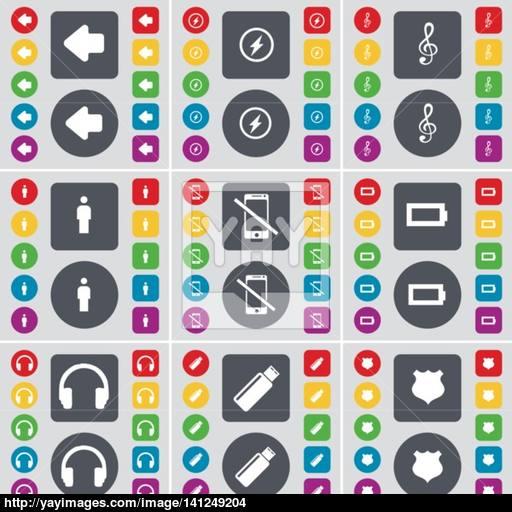 Arrow Left, Flash, Clef, Silhouette, Smartphone, Battery
