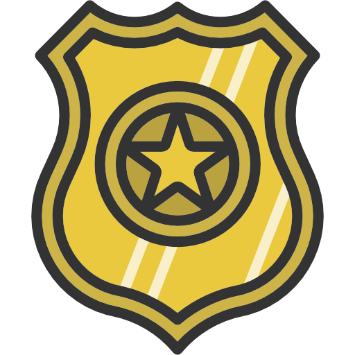 Security, Police, Badge, Shield, Signs Icon