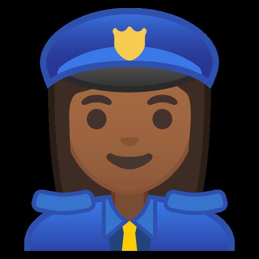 Woman Police Officer Medium Dark Skin Tone Icon Noto Emoji