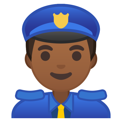 Man, Police, Officer, Medium, Dark, Skin, Tone Icon Free