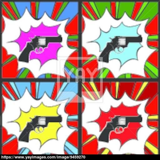 Pop Art Pistol Vector