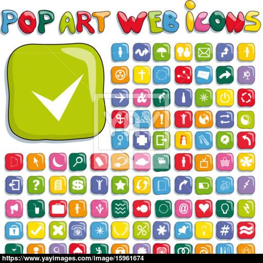 Stylized Pop Art Web Icon Set Vector