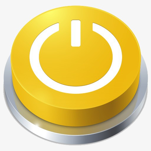 Power Button, Button Clipart, Yellow, Three Dimensional Png Image