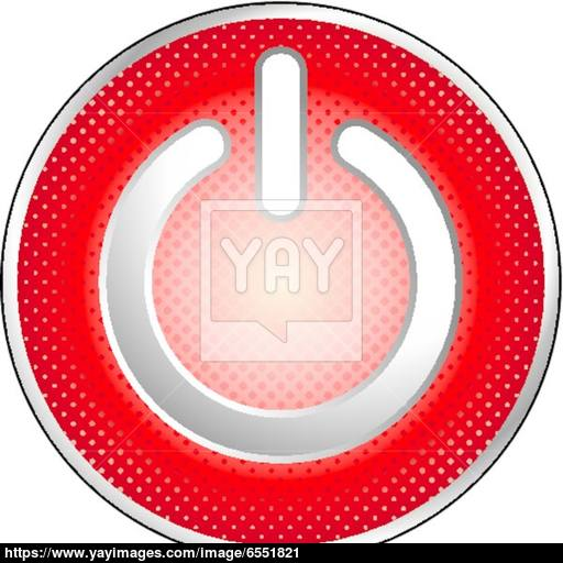 Red Power Button Icon Vector