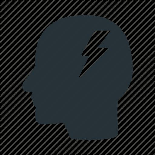 Brain, Energy, Head, Human, Lightning, Power Icon