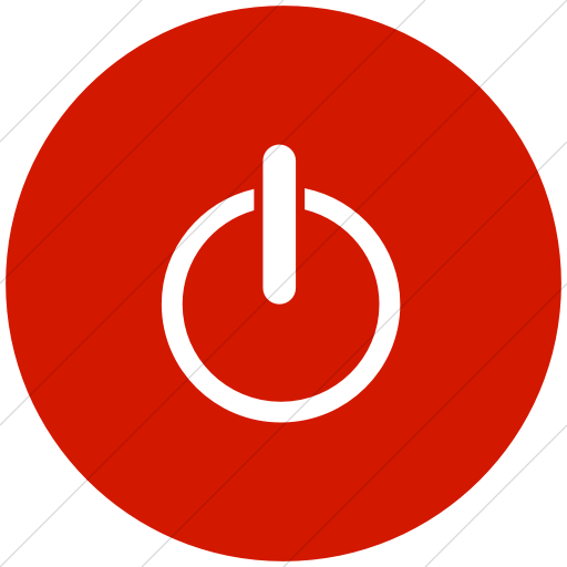 Flat Circle White On Red Classica Power On Off Icon