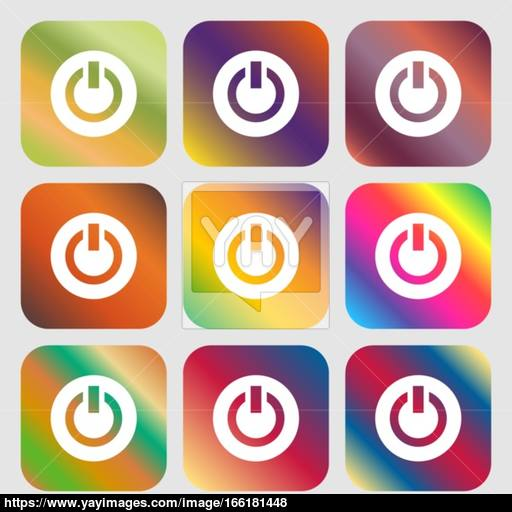 Power, Switch On, Turn On Icon Nine Buttons With Bright Gradients