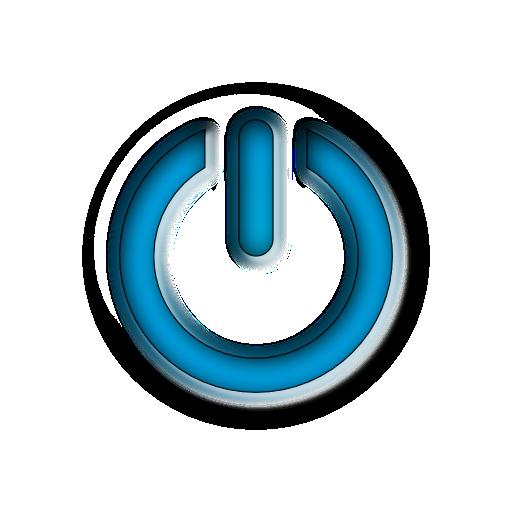 Blue Power Sign Button Clipart