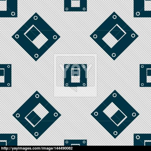 Power Switch Icon Sign Seamless Pattern With Geometric Texture