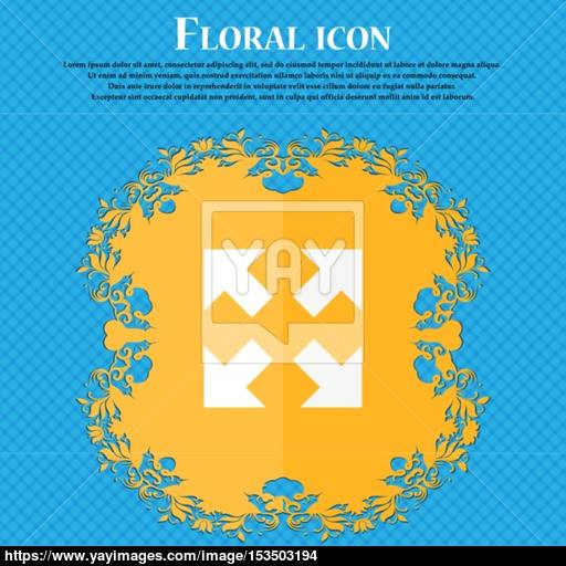Full Screen Icon Floral Flat Design On A Blue Abstract Background