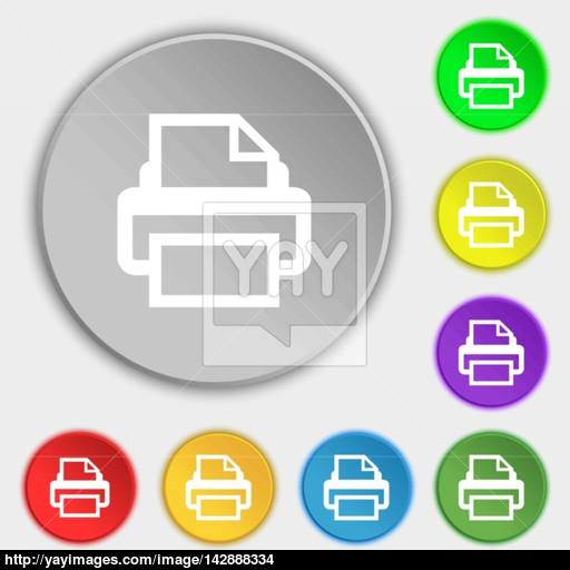 Print Sign Icon Printing Symbol Symbols On Eight Flat Buttons