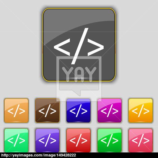 Code Sign Icon Programming Language Symbol Set Of Colored