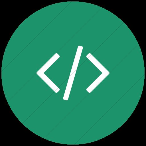 Flat Circle White On Aqua Bootstrap Font Awesome Code Icon