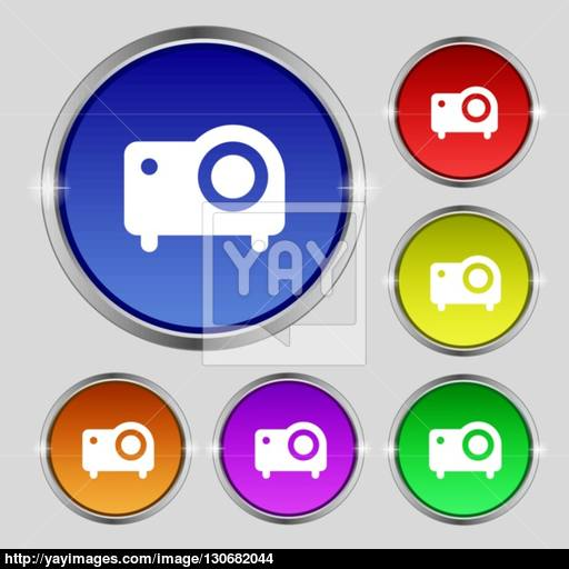 Projector Icon Sign Round Symbol On Bright Colourful Buttons