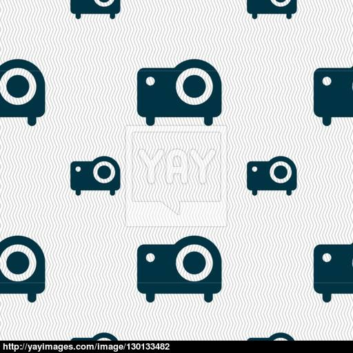 Projector Icon Sign Seamless Pattern With Geometric Texture