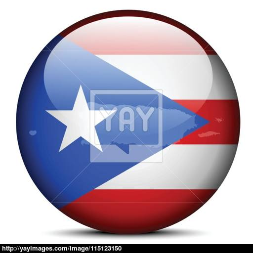 Map On Flag Button Of Freely Associated State Puerto Rico Vector