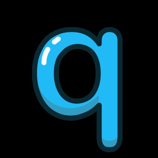 Blue, Letter, Lowercase, Q Icon